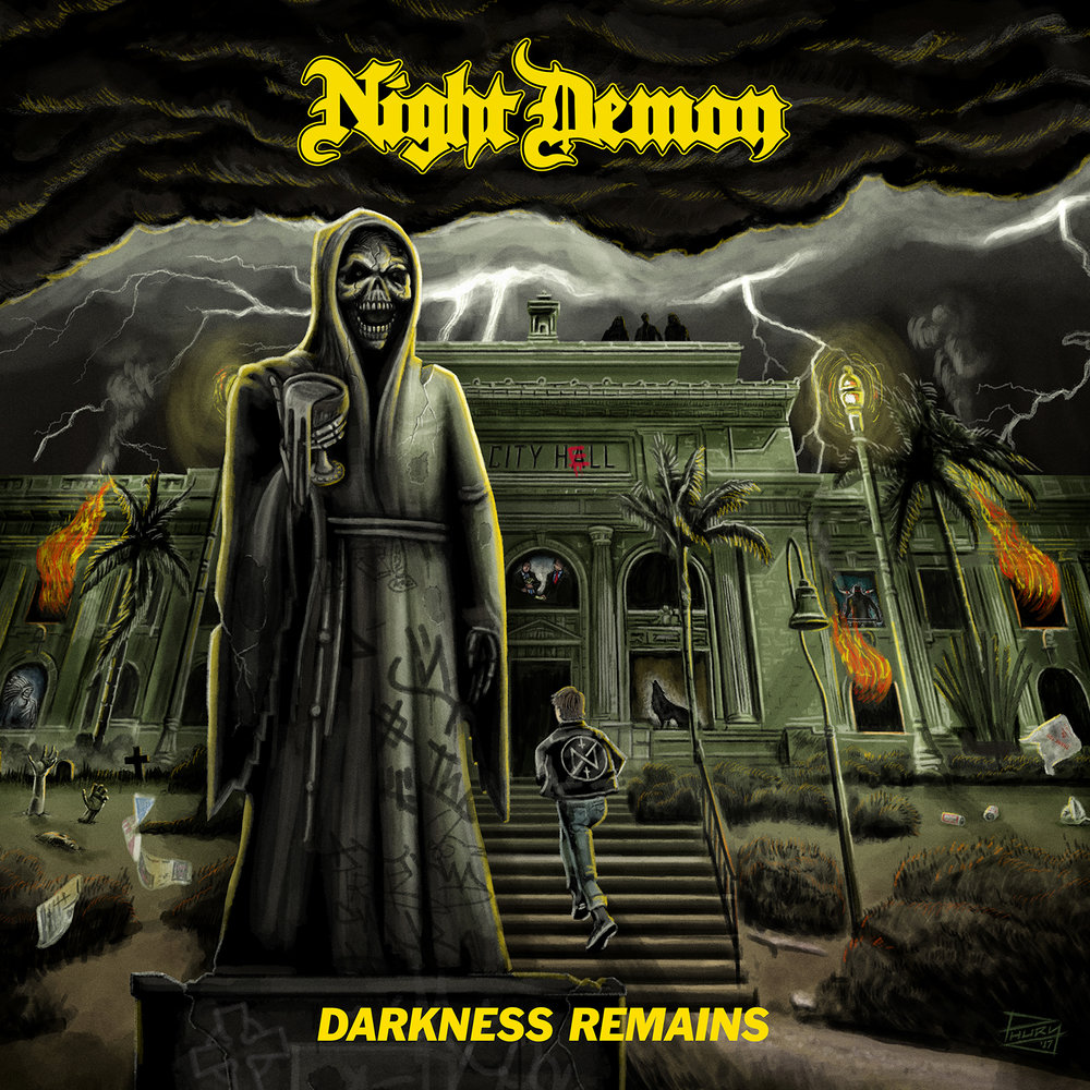 04. Night Demon - Darkness Remains - This is sheer, good ol' classic heavy metal at its very best. Of course, you could write this off as Iron Maiden worship and enjoy it just as much, but you'd miss out on all the other NWOBHM tributes lurking throughout this riff-packed album including Diamond Head, Thin Lizzy, Jag Panzer, Angel Witch, Satan, and Dio. However, Darkness Remains is much, much more than a generic NWOBHM tribute and is an impressive album in its own right with a distinctive take on dueling guitars, galloping bass riffs, soaring choruses, and triplet drum fills.