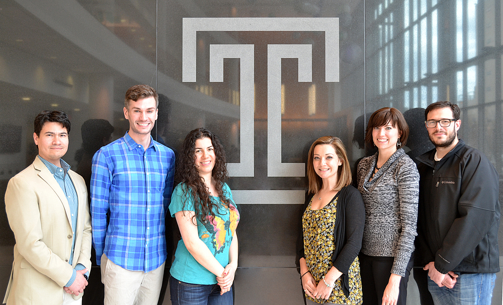 From left to right:  Servio H. Ramirez Ph.D.(PI),Evan Lutton (M.D/Ph.D.,student),   Roshanak Razmpour (Senior laboratory manager/scientist),  Steven Merkel (Ph.D.student), Lee-Anne Canella (Ph.D. student),Allison Andrews Ph.D.(Postdoctoral fellow), Steven Merkel (Ph.D.student).