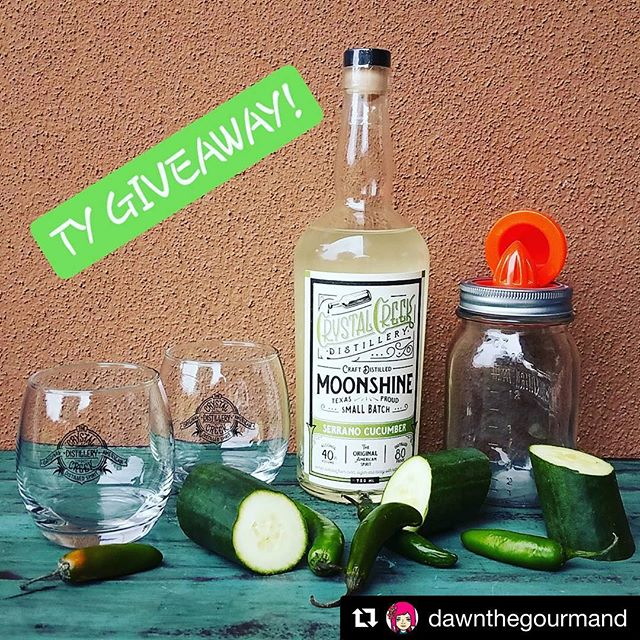 "#Repost @dawnthegourmand (@get_repost) ・・・ 🚨🚨1000 THANK YOU GIVEAWAY!!!🚨🚨 .  ABOUT: When people hear the word ""moonshine"" I think most picture Mason jars filled with high burning ""hooch."" Crystal Creek Distillery busts the stereotype by creating fine, delicate spirits (using local corn) that contribute to fantastic craft cocktails.  They use all natural ingredients to infuse their wonderful flavored varieties. The Serrano Cucumber is my fav & is very versatile. Makes amazing Margaritas, Bloody Mary's, & Martinis. I've also cooked w/it: used a couple ounces in my last batch of shrimp ceviche! 😋 I love it so much, I want to share it with you!  WHAT YOU GET: ⚪1 750ml small batch bottle of Serrano Cucumber ⚪2 Crystal Creek cocktail glasses ⚪A Mason jar all-in-one juicer & shaker that I thought would go well with this gift ⚪1 Crystal Creek sticker (not shown) ⚪Produce not inc.; Approx $50 value  HOW TO ENTER: ✔Must be 21+ ✔Resident of contiguous 48 only (sorry) ✔Follow @dawnthegourmand ✔Like this post ✔Tag someone in the comment section who you think might enjoy this. You may enter as many times as you like, but each entry must include a different tagged page. The more you enter, the increased odds of winning. ✔Must do ALL of the above for valid entry(ies). Contest ends at 10pm CST on Saturday, Nov 18. A winner will by randomly chosen & announced Sunday. Good luck! 😁  Swipe ⬅ to view pics of a few of CC's beautiful cocktails, the cool laid-back tasting room, & the actual still that all of the products are made in. . . . . . . . . . #atx #austin #texas #spicewood #spirits #moonshine #cocktails #liquorgram #thebest #tasty #fresh #smooth  #mixology #texashillcountry #cheers #dawnthegourmand #DawnATX 😚"