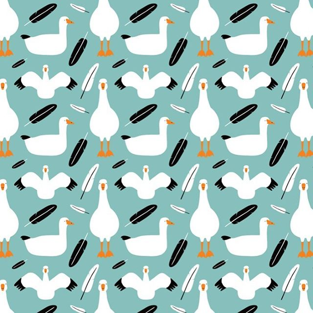 Snow Goose Pattern for Spoonflower Migratory birds design prompt. I bet this would make a nice scarf.