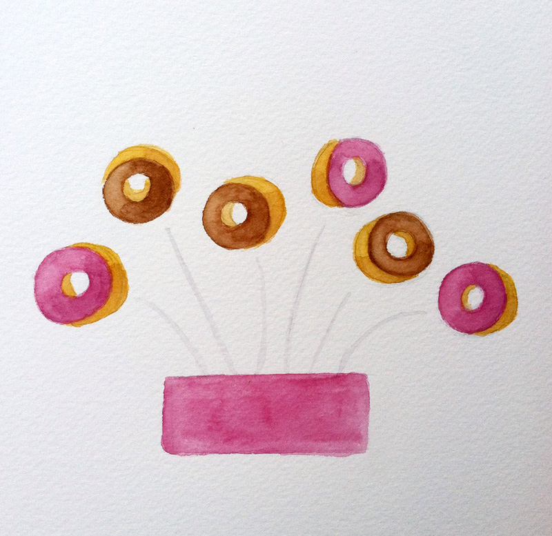Yippie, donuts! Watercolor, 2015.