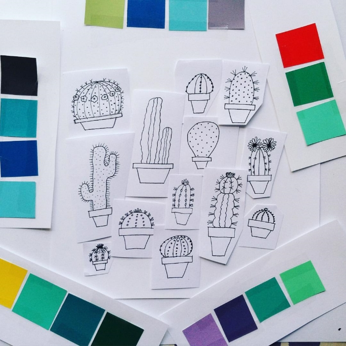 Work in progress: Cacti pattern, playing with color palettes and hand drawn sketches.