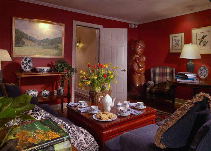 Red rooms create a cozy, inviting atmosphere