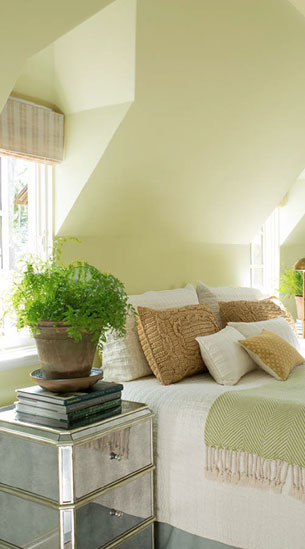 Greens create a soothing, relaxing space