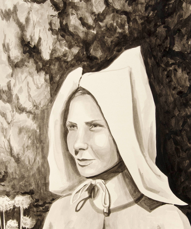 "Milkmaid  ©2012 India Ink on Paper 30"" x 22"""