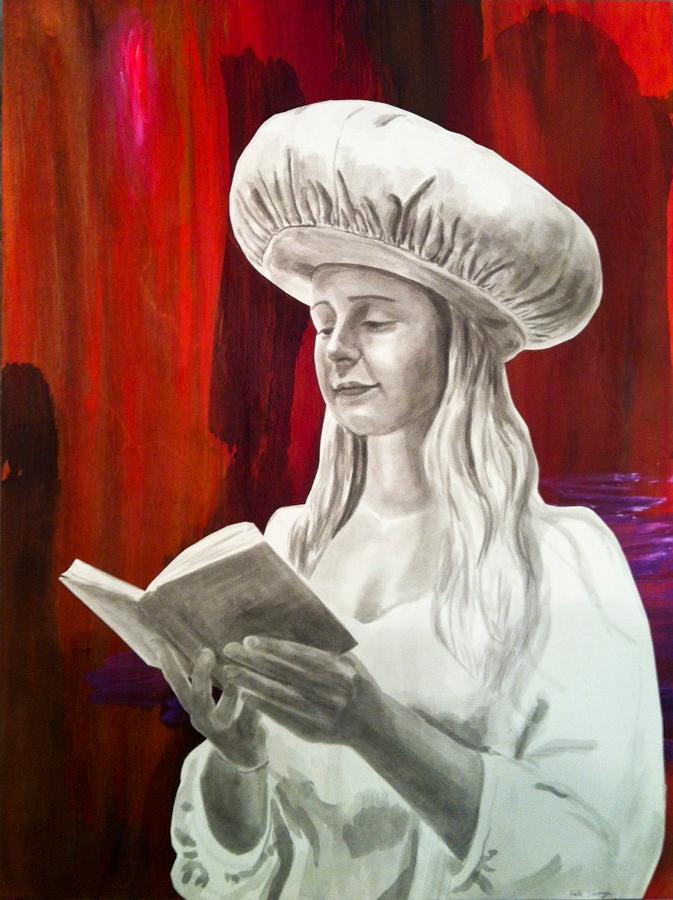 """Pasha  ©2014 Acrylic, India Ink on Paper and Wood Panel 24"""" x 18"""""""