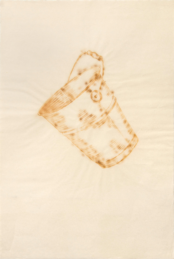 "Milk Bucket  ©2002 Milk on Paper 39"" x  26"""