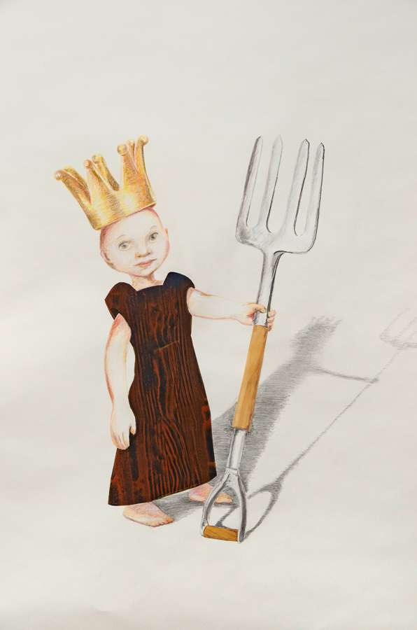 """Pitchfork King (Detail) ©2013 Collage, Colored Pencil and Graphite on Paper 70"""" x 40"""""""