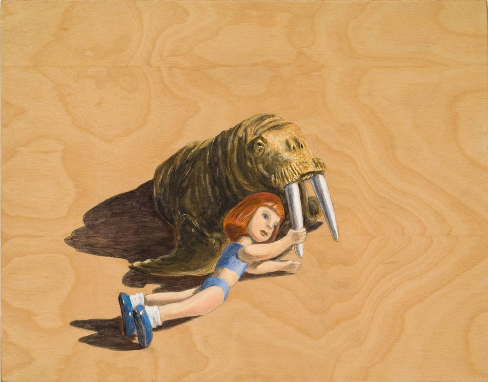 """You Walrus Hurt the One You Love ©2008 Acrylic on Wood 11"""" x 14""""  Collection of Rufus Friedman, Manchester, CA"""