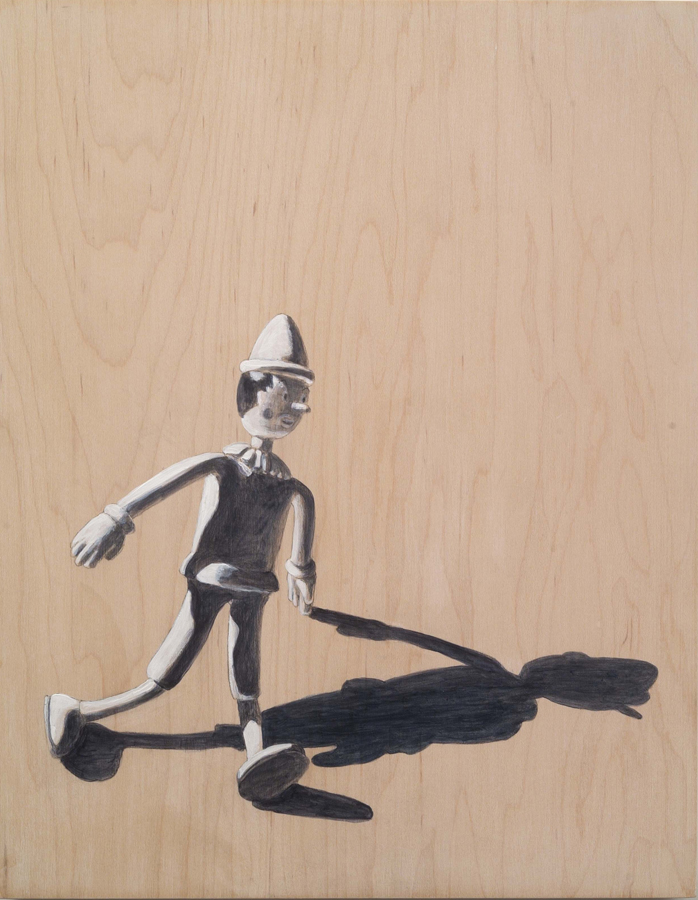 "Bendy  ©2007 Acrylic on Wood Panel 12"" x 9"""