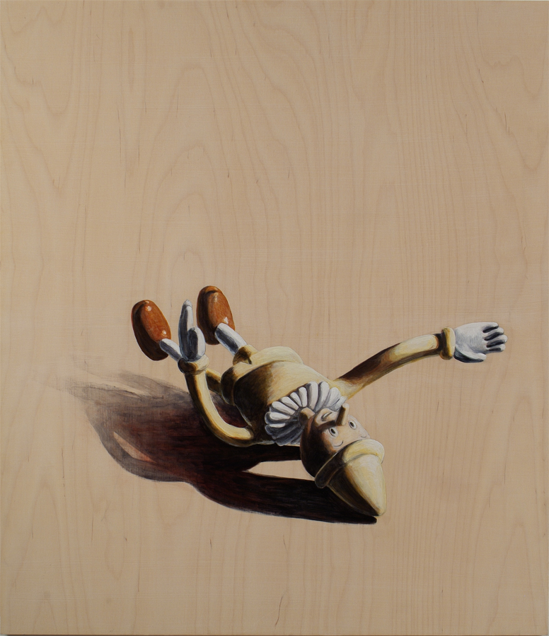 "Fallen  ©2005 Acrylic on Wood Panel 30"" x 26""  Collection Capitol Group (Capitol One), Irvine, CA"