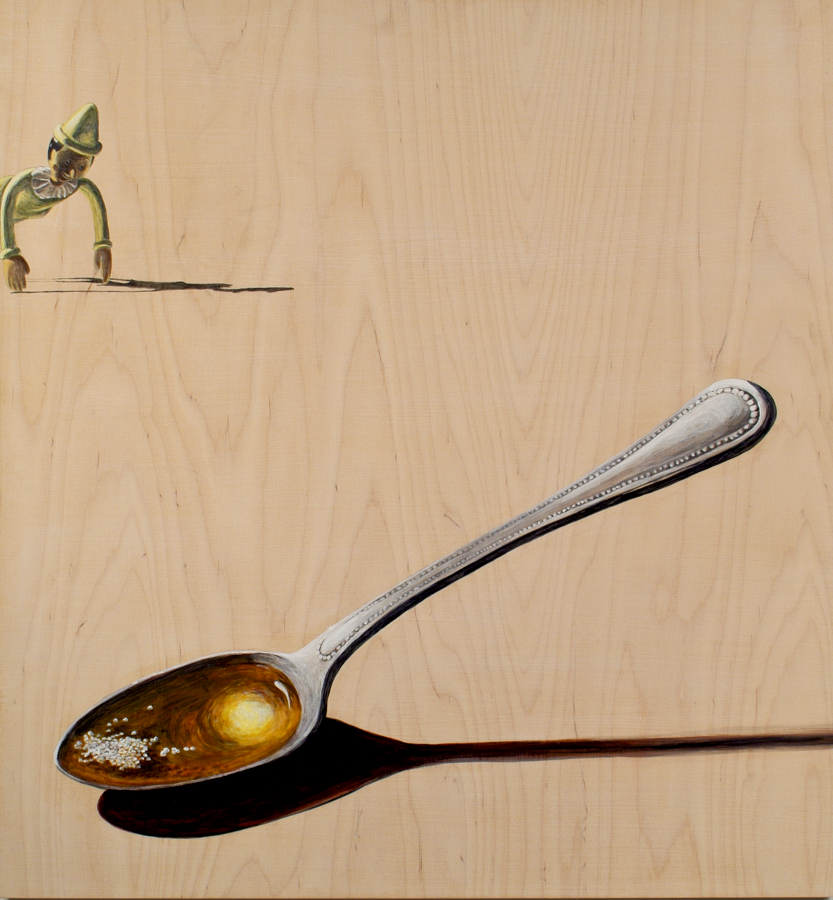 "Silver Spoon  ©2005 Acrylic on Wood Panel 30"" x 28"""