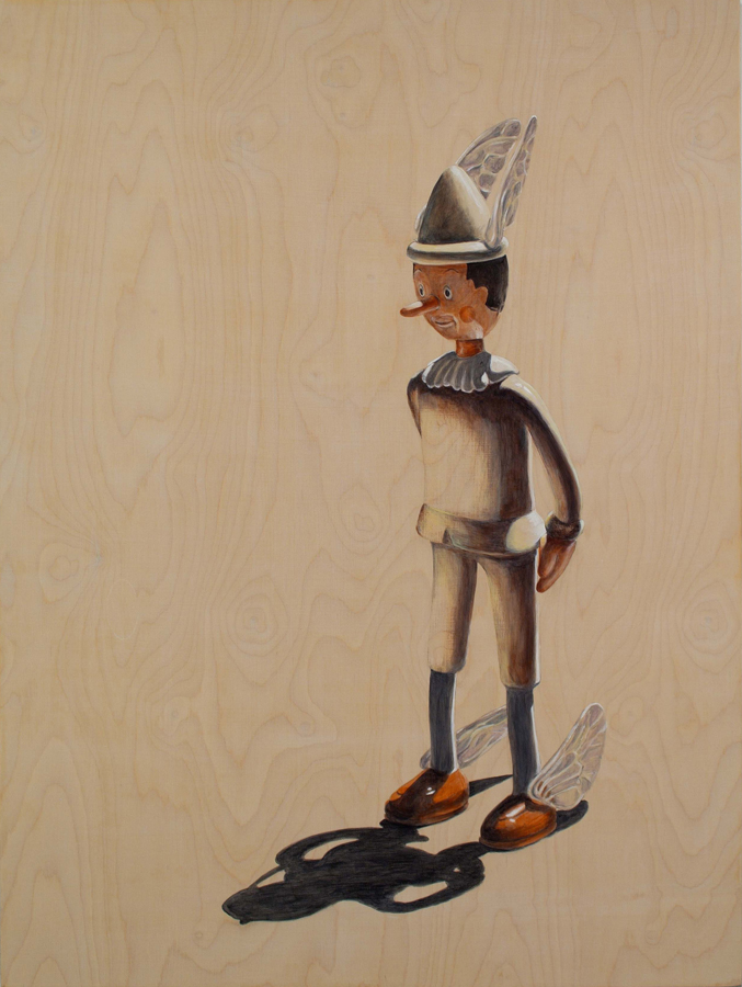 "The Messenger Hesitates  ©2006 Acrylic on Wood Panel 52"" x 42"""