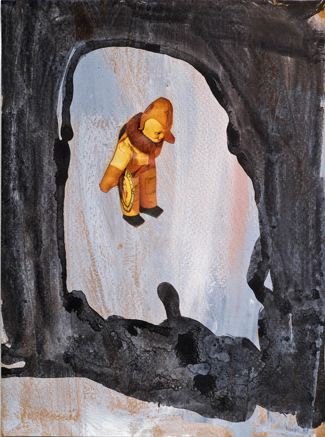 """Cave Boy ©2010 Acrylic, India Ink and Collage on Paper 9"""" x 7"""""""