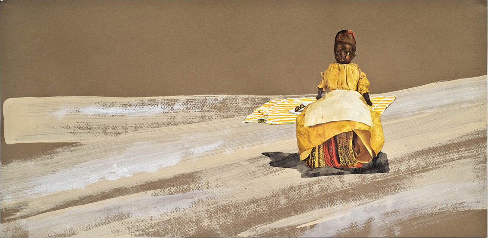 """Honey Chile ©2012 Acrylic, India Ink and Collage on Paper 10"""" x 20"""""""