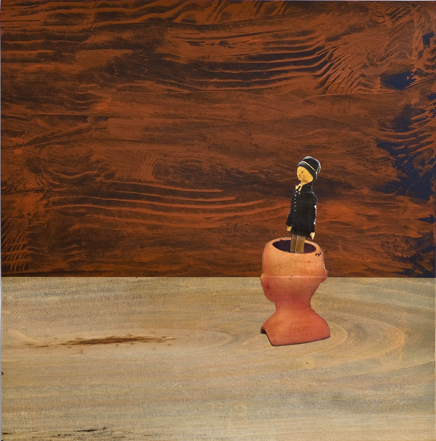 """Seekers ©2012 Acrylic, Wood Veneer andCollage on Paper 14"""" x 14""""  Collection of Terry Rubinroit, Los Angeles"""
