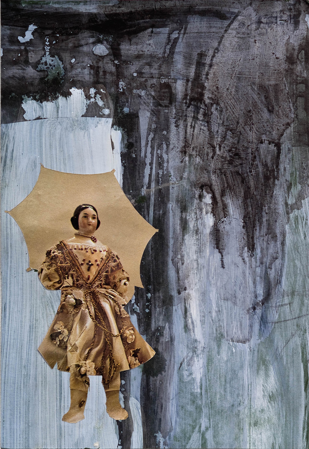 """Rain ©2010 Acrylic, India Ink and Collage on Paper 10"""" x 7"""""""