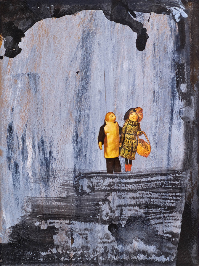 """Spelunkers ©2010 Acrylic, India Ink and Collage on Paper 9"""" x 7"""""""