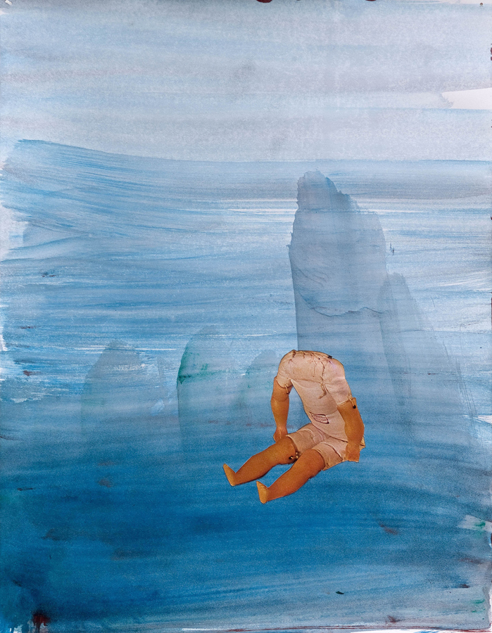 "Water Baby I  ©2010 Watercolor and Collage on Paper 14"" x 11"""