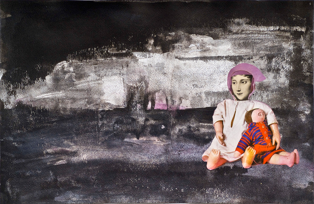 """Imminent ©2010 Acrylic, India Ink and Collage on Paper 10"""" x 15"""""""