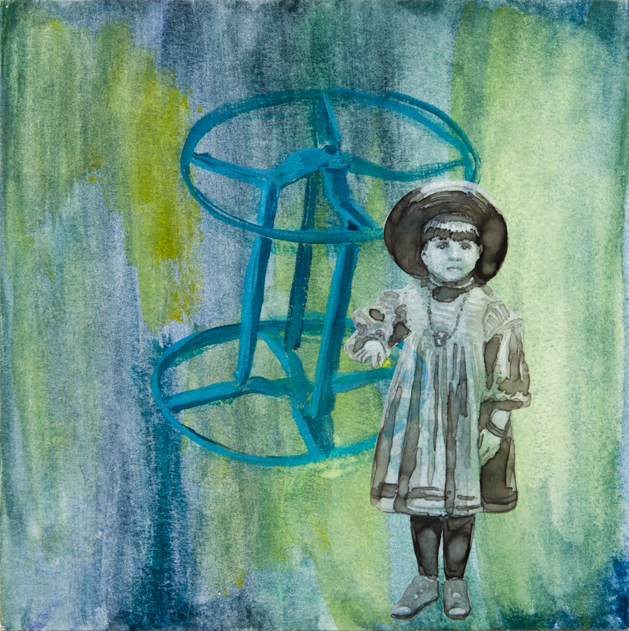 """Wheel in a Wheel ©2014 Acrylic, India Ink and Collage on Paper 8"""" x 8""""  Collection of Samuel Fusco, Los Angeles, CA"""