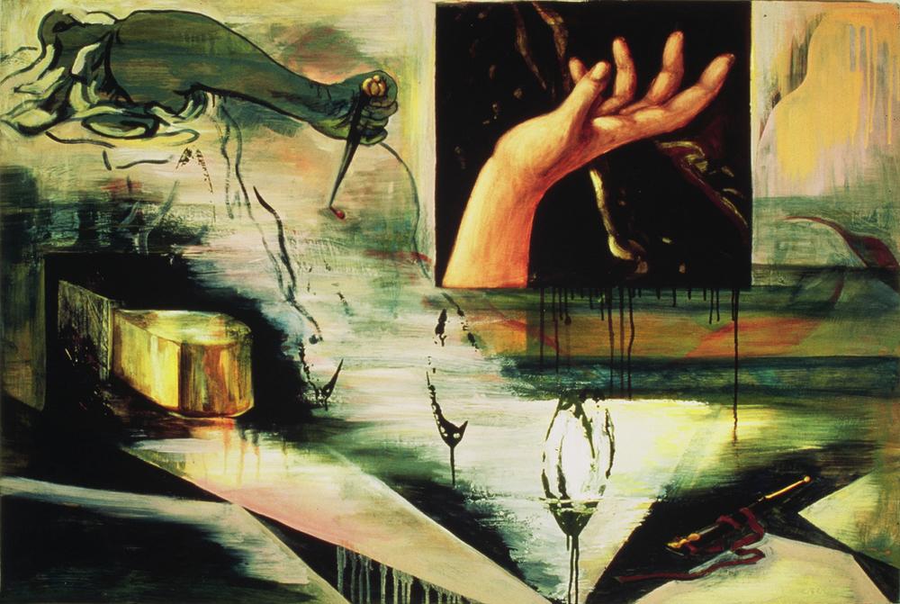 "Lucrece  ©1993 Encaustic, Acrylic and Oil on Wood Panel 36"" x 54"""