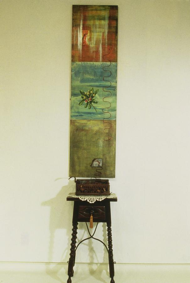 "Perpetua's Ladder  ©1993 Mixed Media 72"" x 20"""