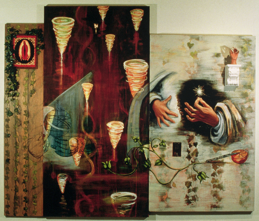 "Saint Hildegard  ©1994 Encaustic, Acrylic and Oil on Wood Panel 55"" x 70"""