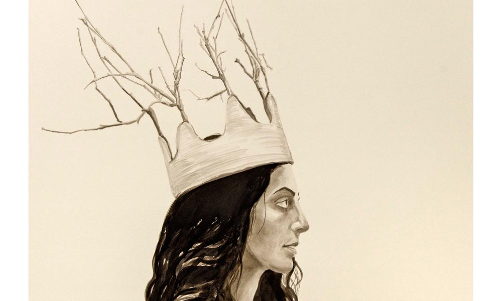 "Ranajoon , ©2013 India Ink on Paper 22"" x 30"""
