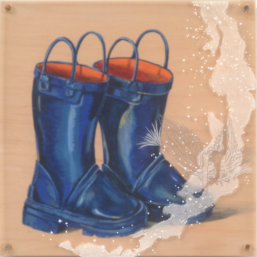 "Milky Boots  © 2004 Acrylic, Collage, Colored Pencil on Acrylic and Wood Panel 10"" x 10"""