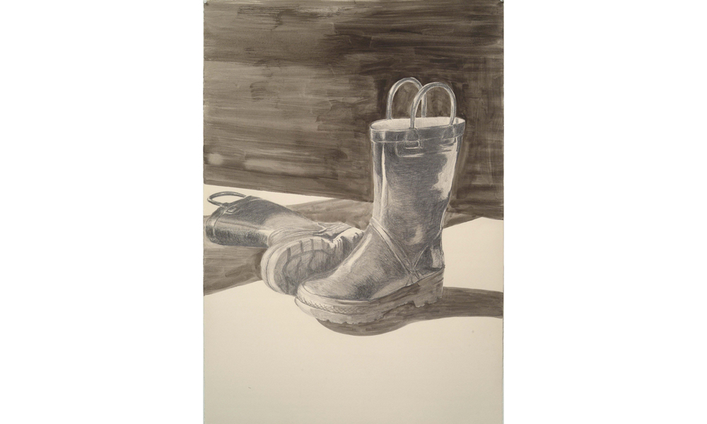 "Big Boots  © 2004 Graphite on Paper 40"" x 28"""