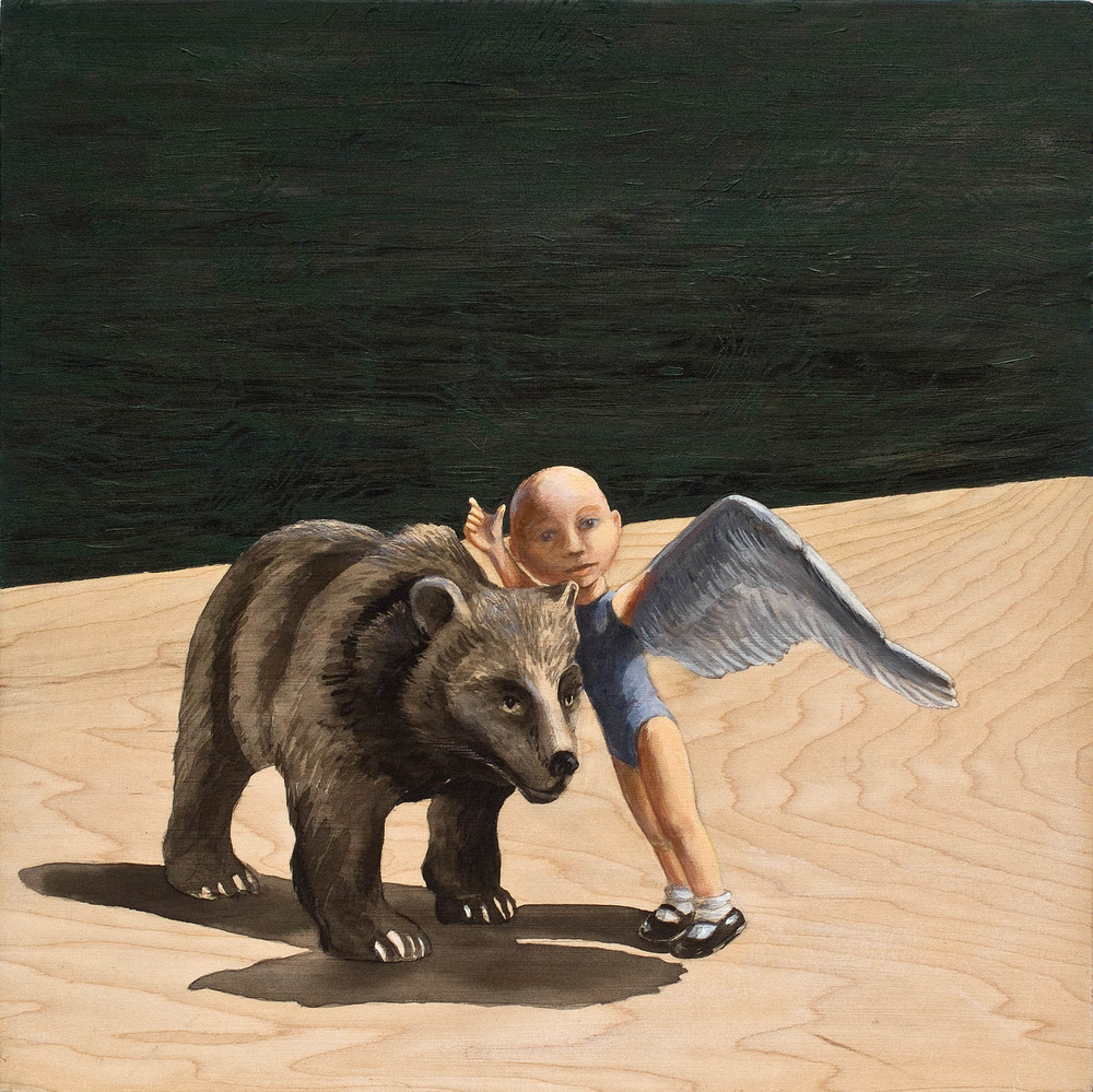 """The Bear © 2010 Acrylic and India Ink on Wood Panel 12"""" x 12"""""""