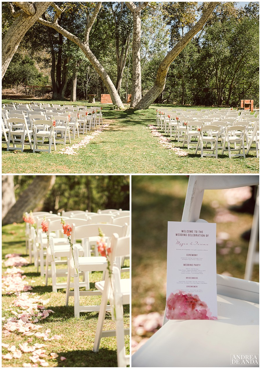Ceremony site by the oak trees