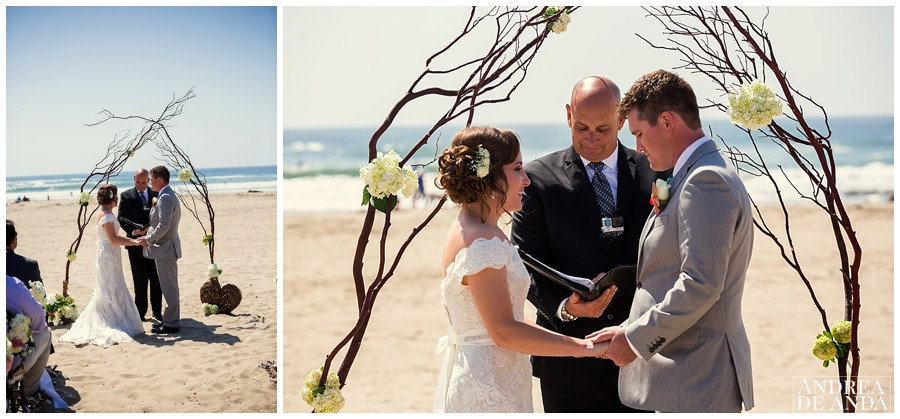 Beach wedding, natural branches making an arch and a few floral details.