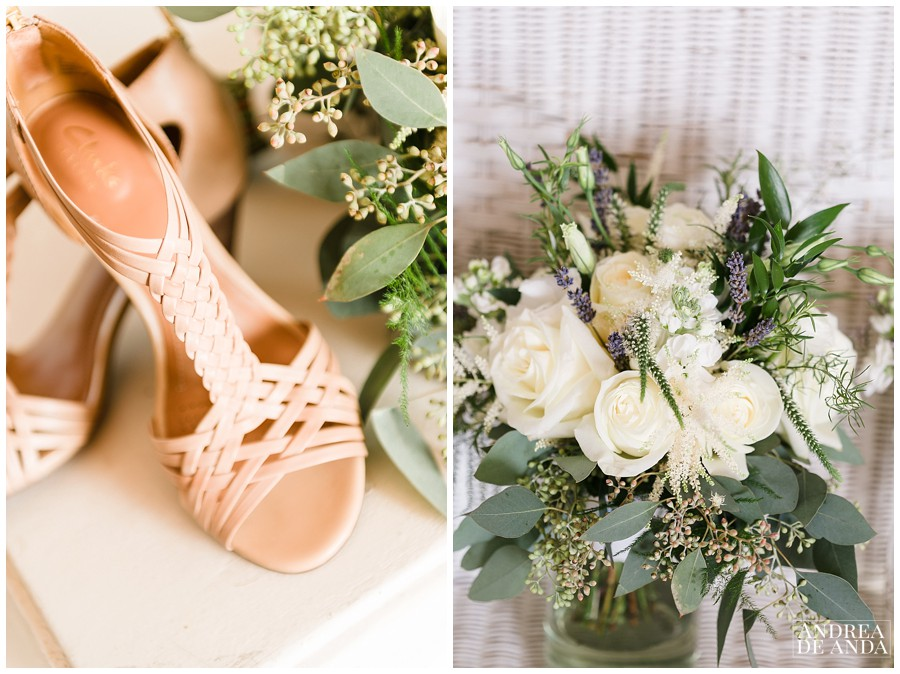 Sarah wore nude wedges from clarks and her wedding bouquet with neutral and white tones from Terra Bella