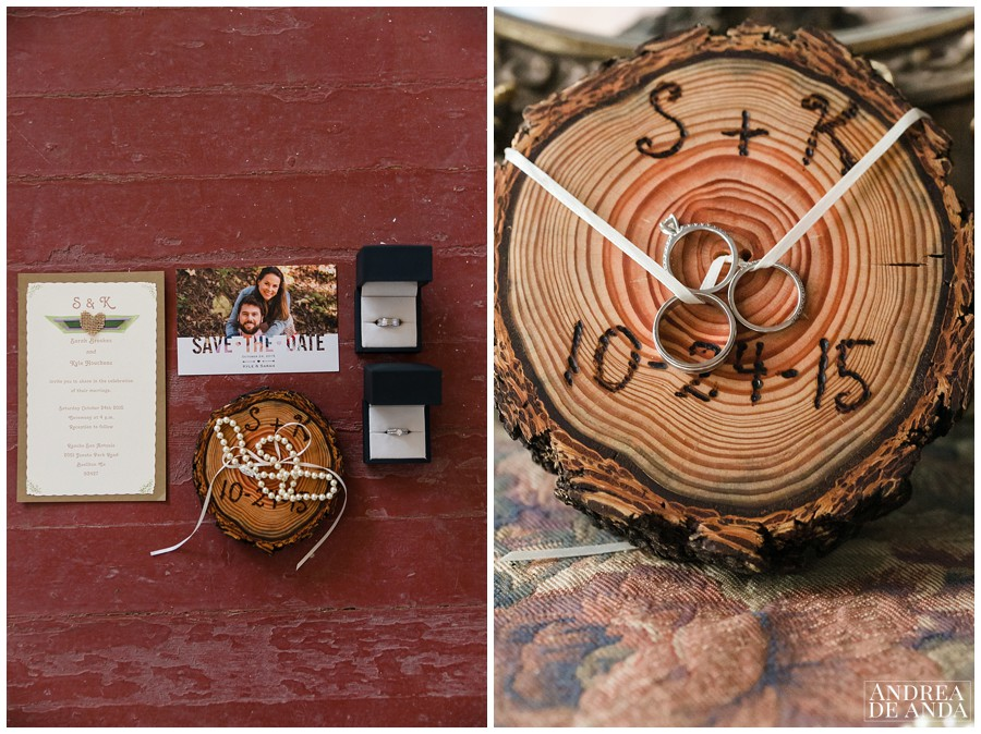 I love her choice of stationery and the engraved wood where they had the rings its a great idea.