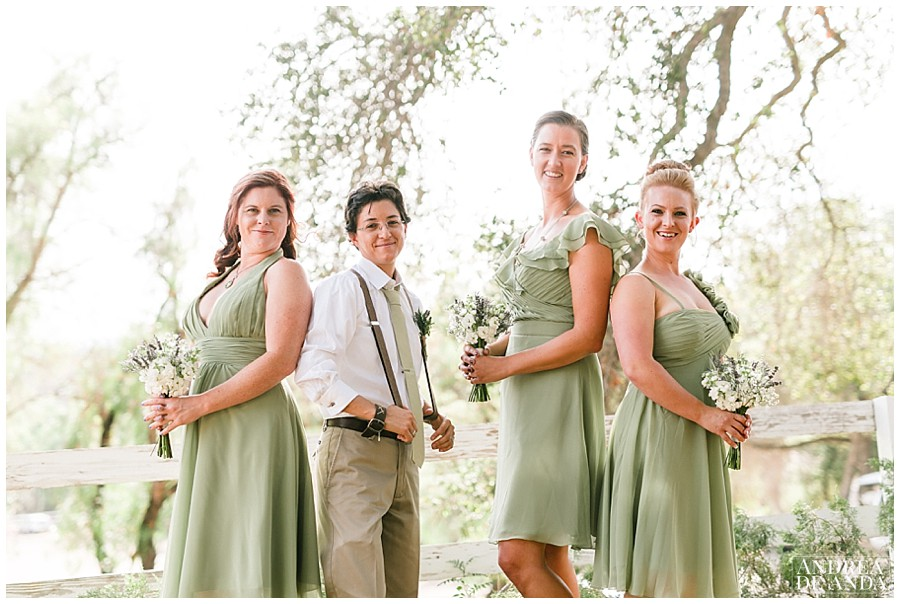 Bridesmaids wore a perfect share of green and wonderful bouquets and a very special boutonniere