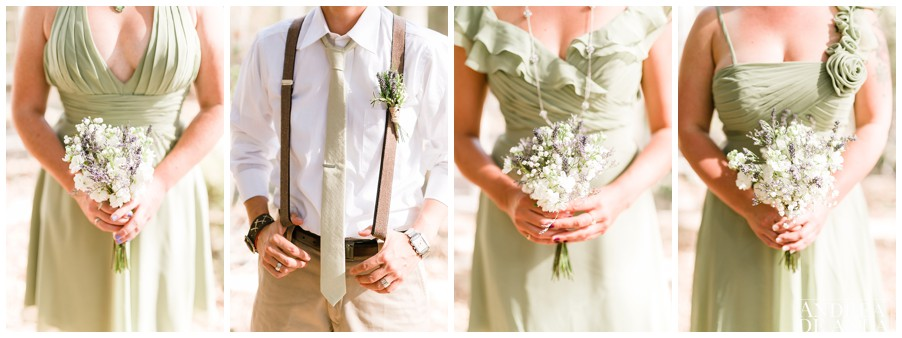 bridesmaids dresses and bouquets with suspenders and boutonniere. wedding details.