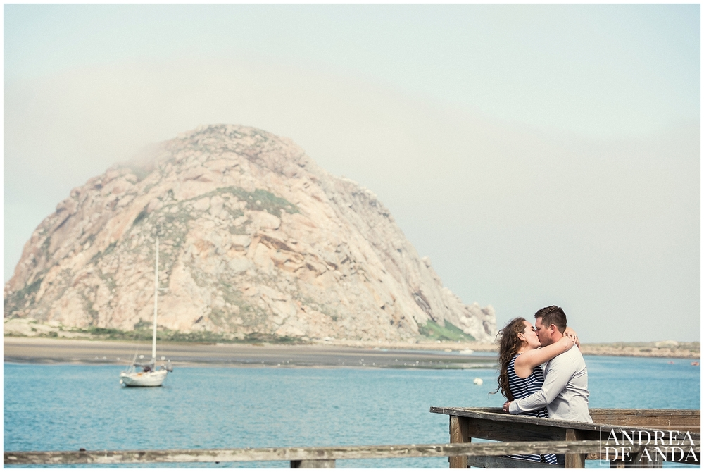 Beautiful kiss, beautiful couple at Morro Bay, CA.