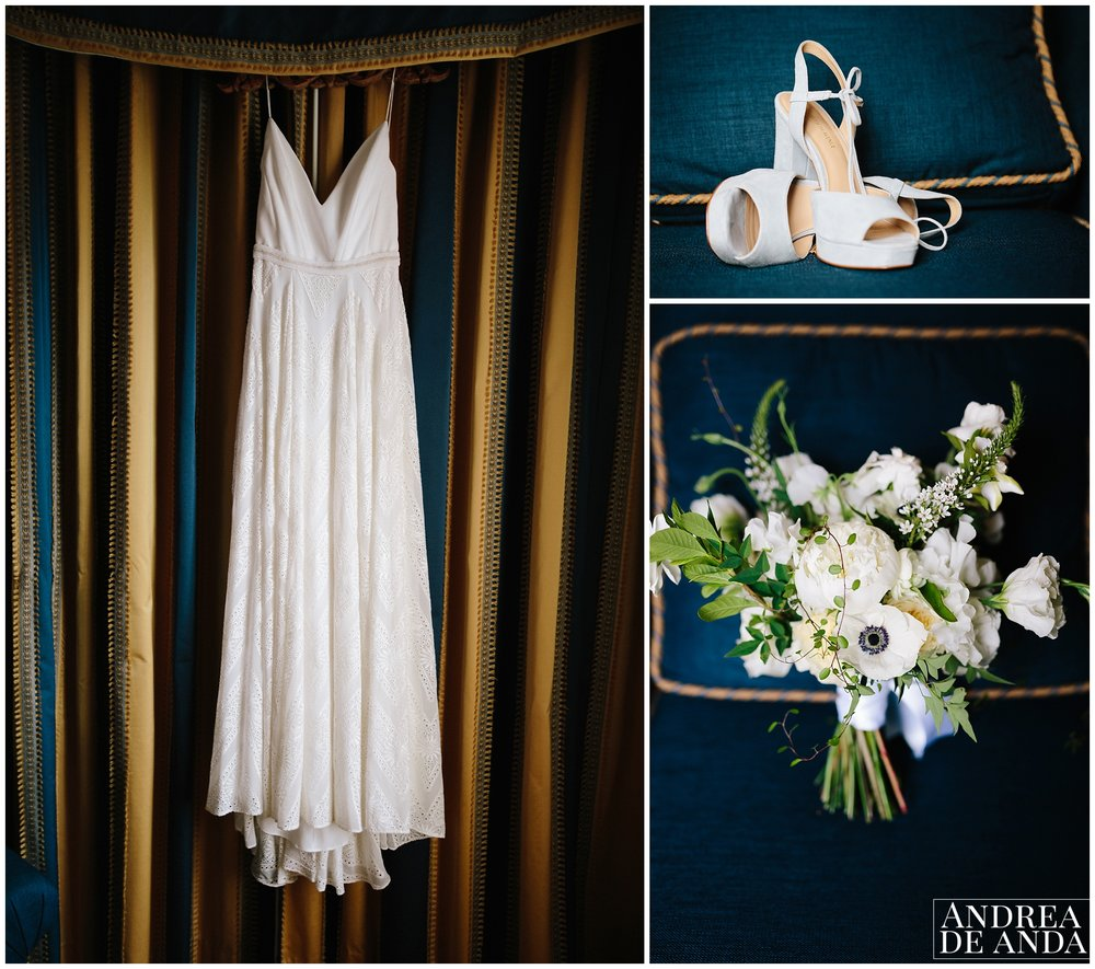 wedding dress, wedding shoes and bouquet with a beautiful navy blue color scheme