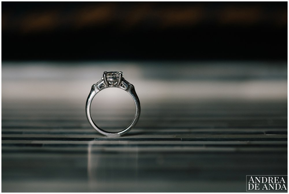 Engagement ring standing on its own