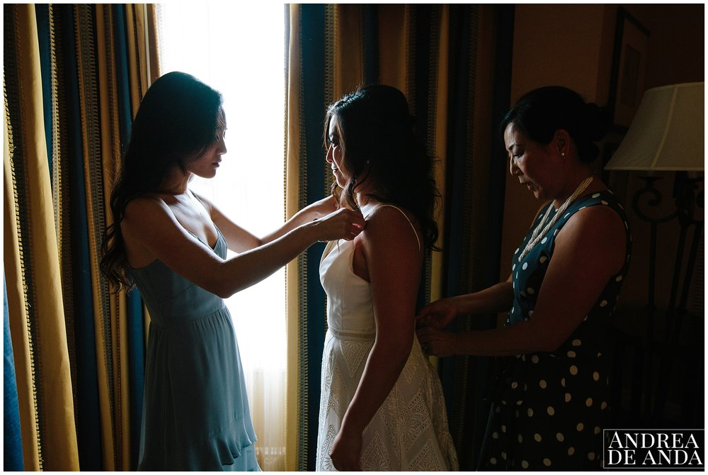 Bride getting ready at the suite Langham Huntington Hotel in Pasadena California