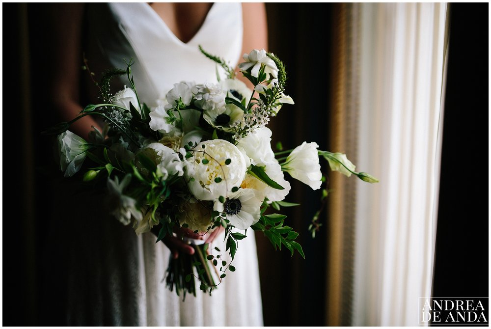 Bride with bouquet at the suite Langham Huntington Hotel in Pasadena California