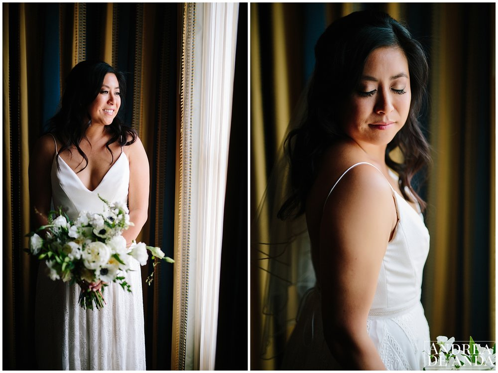 Beautiful bridal portrait at the suite Langham Huntington Hotel in Pasadena California