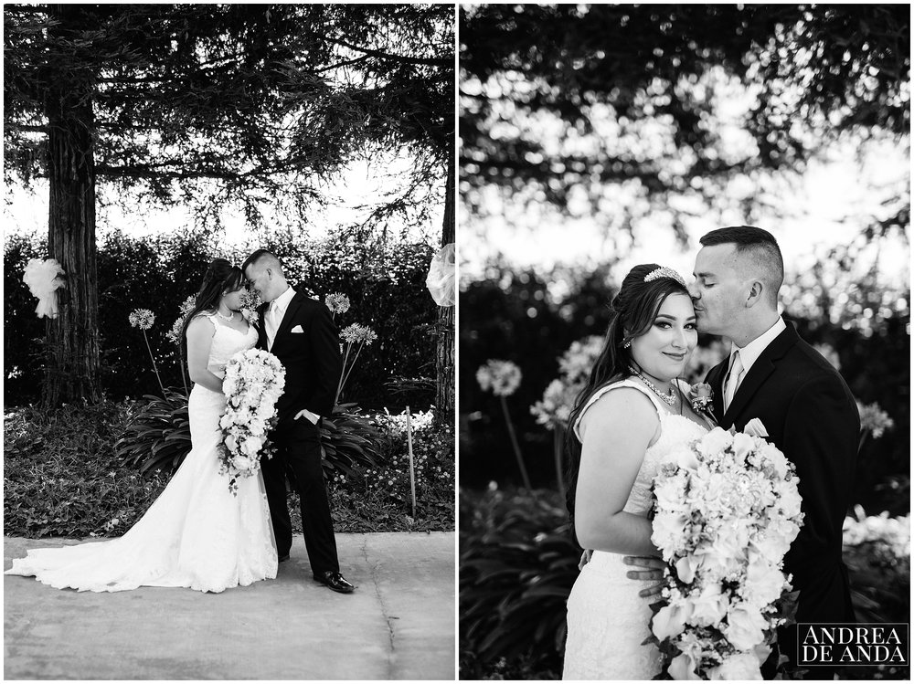Portrait session of Bride and Groom in the venue garden