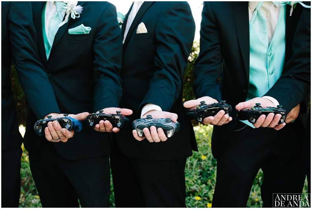 Groom and Groomsmen with XboX controllers for their session togeher