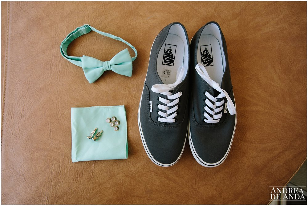 Groom's shoes, bowtie, cufflinks, getting ready at Sea Venture Hotel Pismo Beach