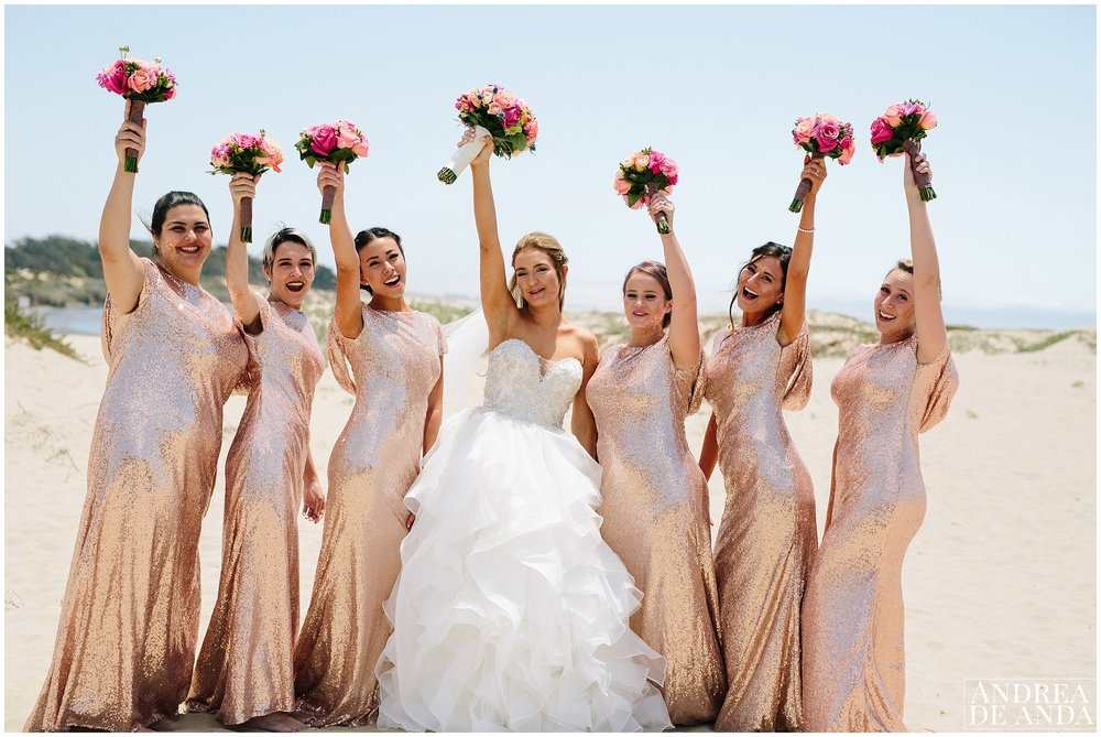 Bride and Bridesmaids portraits in Pismo Beach