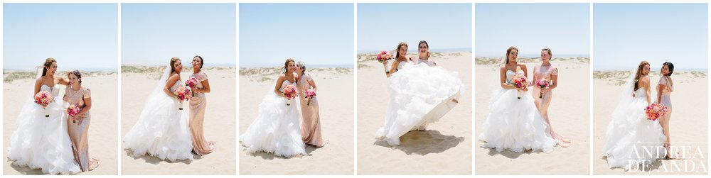 Bride and Bridesmaids individual portraits in Pismo Beach