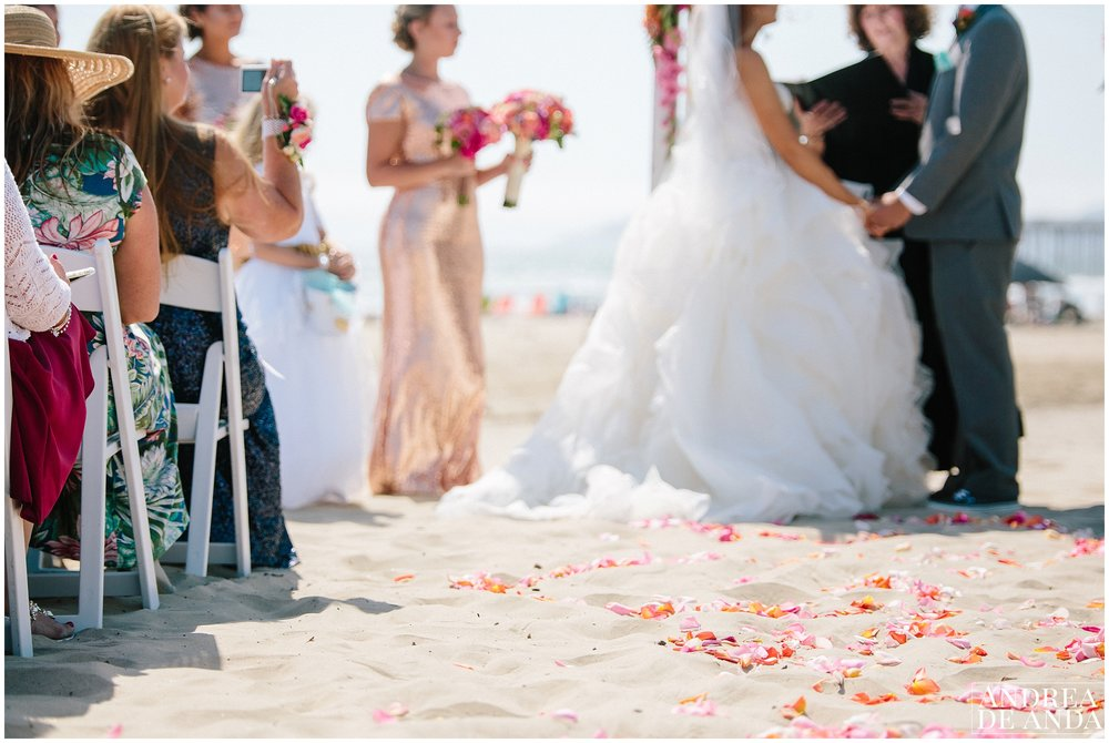 Ceremony details for beach wedding